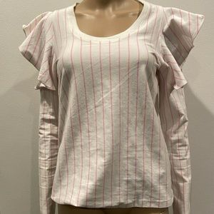 OPENING CEREMONY STRIPED RUFFLED SLEEVE BLOUSE S
